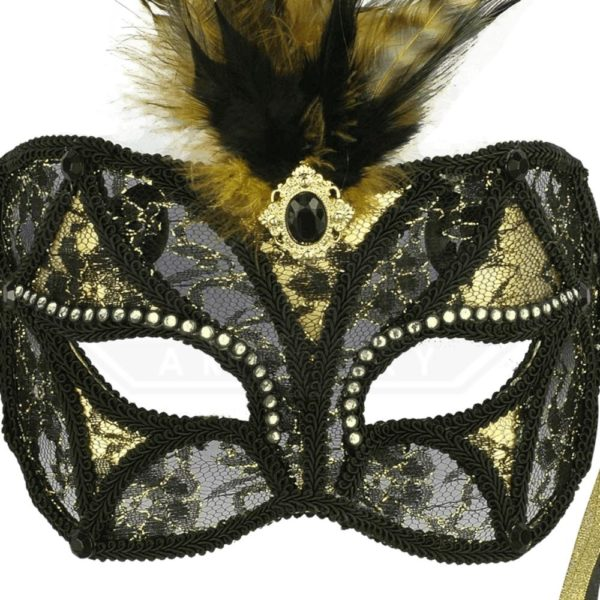 black and gold lace mask